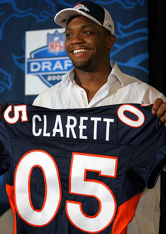"Clarett seemed destined to be a first-round pick after his freshman year at Ohio State, but his attempt to challenge the NFL's age limit was fruitless and he entered the 2005 draft without having played football in more than a year. His 4.7-plus 40-yard speed at the NFL Combine -- which earned him the nickname of ""Slo-Mo"" -- didn't stop the Broncos from reaching to take him with their third-round pick. Clarett never played a game for Denver and is now in jail."