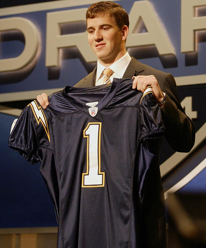 Ignoring Manning's claims that he wouldn't sign with San Diego, the Chargers still took the Ole Miss quarterback with the top pick. After an uncomfortable series of events that included Manning having to pose for pictures while holding up the Chargers jersey he said he would never wear, San Diego worked out a deal with the Giants to swap Manning for fellow top-five pick Phillip Rivers.