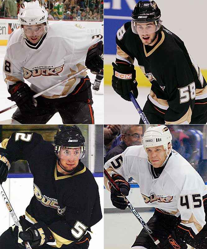 Thornton (45), a July 2006 free-agent signing, appeared in 14 playoff games and Shannon (38) (an undrafted 2005 free agent) appeared in 11, but if you blinked, you missed new kids Miller (58) and Carter (52), who logged less than five games of regular- and postseason ice time, but nevertheless qualified to get their names engraved on Lord Stanley's mug.