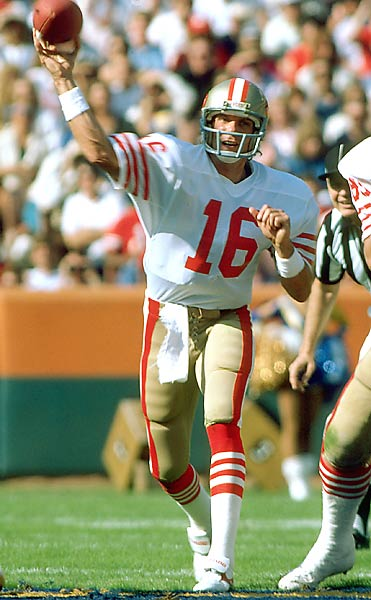 Joe Cool was at his best when the money was on the line. He quarterbacked the Niners to four Super Bowl wins and was named Super Bowl MVP on three occasions. His cool and collected manner in the closing success of Super Bowl XXIII remains the standard for all Super Bowl game-winning drives. <br><br>Runner-up: Brett Hull. <br><br>Worthy of consideration: George Blanda, Bobby Clarke, Len Dawson, Marcel Dionne, Pat LaFontaine, Whitey Ford.