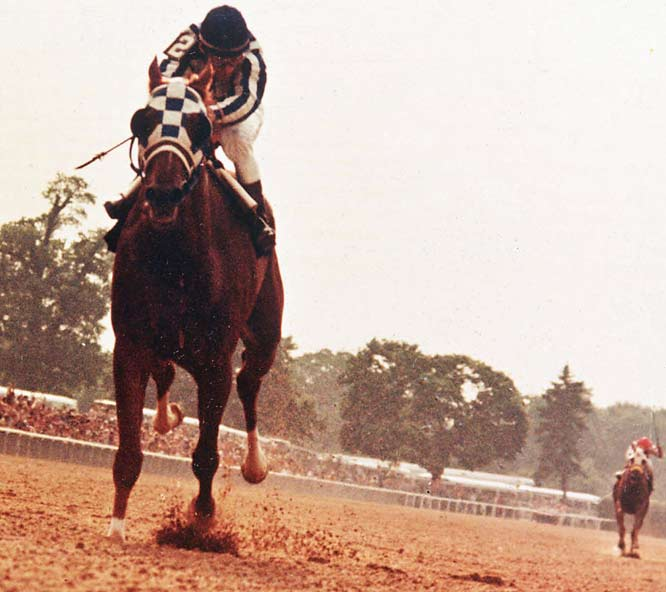 Out of the gate and into history, Big Red won the 1973 Belmont Stakes by a preposterous 31 lengths. The chestnut stallion won 16 of 21 races, including the Triple Crown in 1973.<br><br>Runner-up: Derek Jeter.<br><br>Worthy of consideration: Tommy Lasorda, Doug Harvey, Al MacInnis, Moses Malone, Eddie Shore, Rusty Wallace.