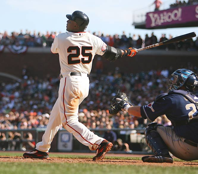 Bonds wore No. 24 with the Pirates from 1986 to '92 in honor of his godfather, Willie Mays, but switched to his current number when he arrived in San Francisco. <br><br>Runner-up: Mark McGwire.<br><br>Worthy of consideration: Fred Biletnikoff, K.C. Jones.