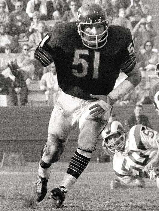 Butkus remains the standard by which all middle linebackers are judged. He was named to eight straight Pro Bowls. <br><br>Runner-up: Ichiro Suzuki.<br><br>Worthy of consideration: Randy Johnson, Trevor Hoffman.