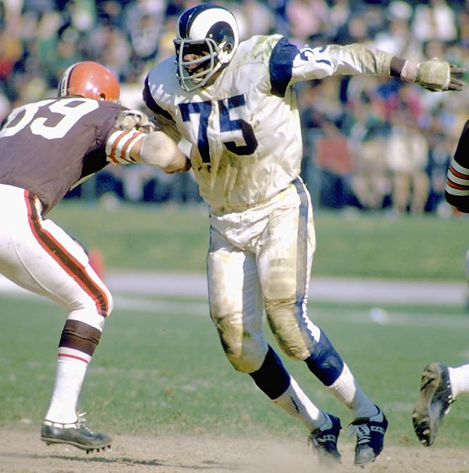 "A sack-master before it became cool, the 6'5' defensive end teamed with tackle Merlin Olsen to give the Rams a ""Fearsome"" left side of the defensive line.<br><br>Runner-up: Mean Joe Greene.<br><br>Worthy of consideration: Forrest Gregg, Howie Long."