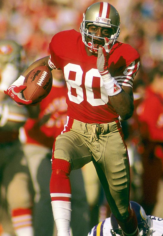 The  NFL's career leader in receptions (1,549), yards (22,895) and touchdowns (208), Rice was a key member of four Super Bowl champions as a San Francisco 49er.<br><br>Runner-up: Henry Ellard, Kellen Winslow.