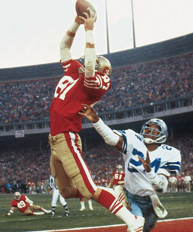 Two-time Pro Bowl wideout hauled in 506 passes during his nine-seasons with the 49ers, none more memorable than The Catch -- his leaping end-zone grab with 51 seconds left that beat Dallas in the 1981 NFC Championship Game.<br><br>Runner-up: Dave Casper.<br><br>Worthy of consideration: Sidney Crosby, Willie Davis, Lionel Taylor.