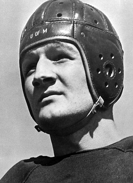 "Nicknamed ""Old 98"" during his Michigan glory years, Harmon was the Wolverines' first Heisman-winner (1940). Drafted first overall by the Bears in 1941, he opted for an acting career and a stint in the Army Air Force. Son Mark (former UCLA quarterback) followed in both family businesses.<br><br>Runner-up: Tony Siragusa."