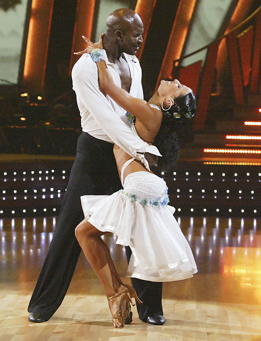 Holyfield was the first retired athlete to appear on this show, but he didn't last long. Holyfield and partner Edyta Sliwinska were the second couple voted off in the first season. At least he didn't get his ear bitten off.