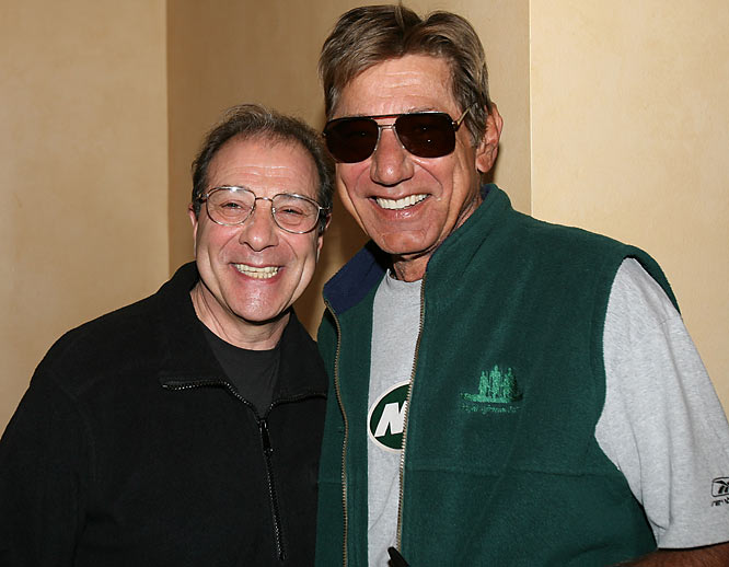 Hall of Fame quarterback Joe Namath and Dan Grimaldi (Patsy Parisi) pose at the March of Dimes Walk America.