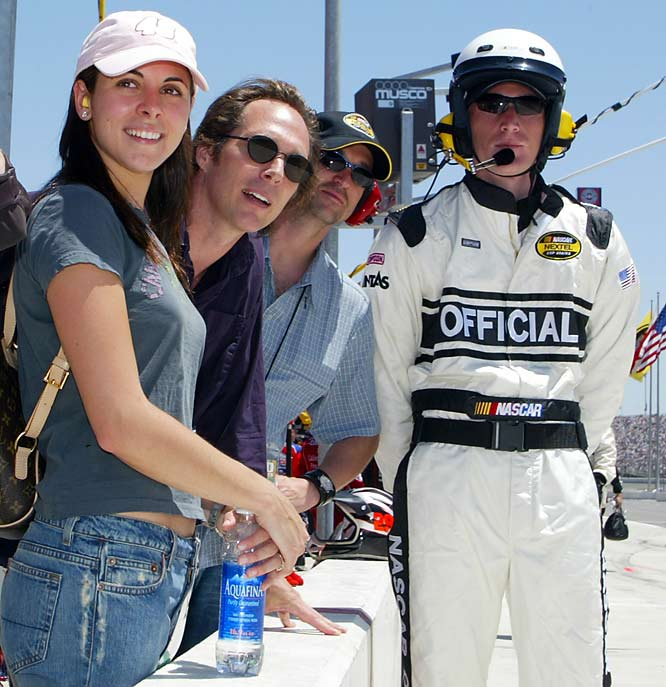 Sigler pals around with fellow actors William Fitcher and Patrick Dempsey on pit road during the Nextel Cup Auto Club 500 at Fontana, Calif.