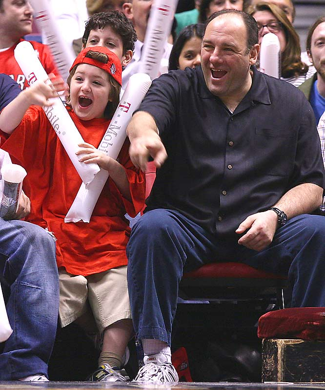 James Gandolfini took in a Nets game earlier this year with his son, Michael.
