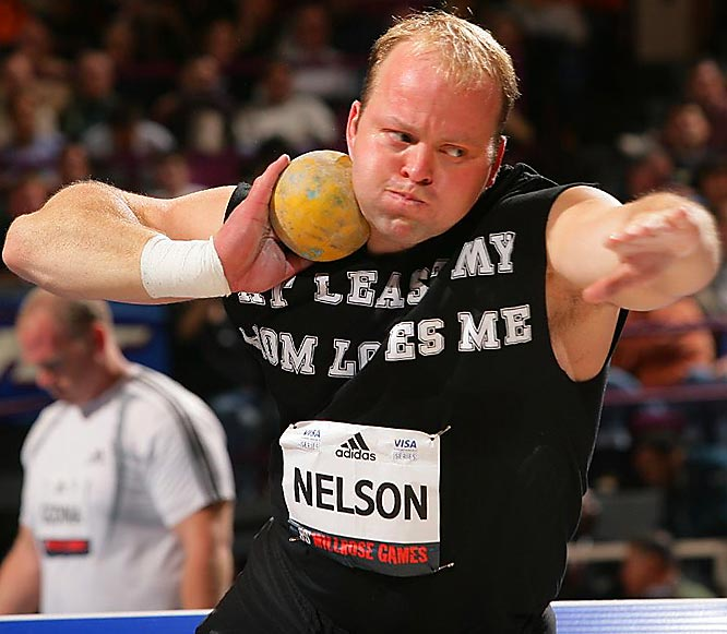 A two-time Olympic silver medalist, Nelson played football at Dartmouth from 1993 to 1996 and is now enrolled in the MBA program at Virginia in addition to still competing in shot put competitions.