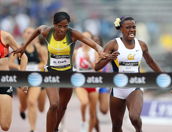 The 800 final was a tight race with Alysia Johnson, the NCAA indoor and outdoor champion, edging Hazel Clark with a winning time of 1:59.47 to Clark's 1:59.60.