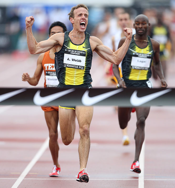 Alan Webb displayed a sizzling kick in the finishing straight of the men's 1500m to win in 3:34.82, breaking Steve Scott's meet record of 3:34.92 set in 1982 and winning his third career national title.