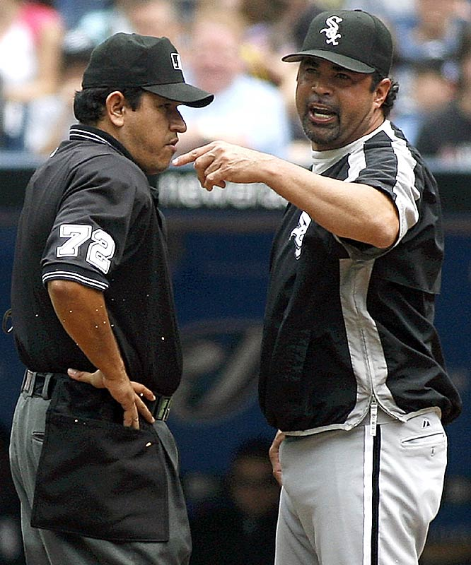 "White Sox manager Ozzie Guillen earned his first ejection of the season on Sunday when he argued Toronto's Lyle Overbay was swinging when he was hit by a pitch and should not have been awarded first base. ""It's not the first time I've been kicked out of the game and it won't be the last."""