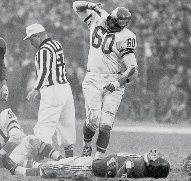 1949-1962 Philadelphia <br><br>One of the last great two-way players, Bednarick transformed the Eagles' defense into one of the NFL's best with his bone-crunching hits. The eight-time Pro Bowler's infamous tackle of the New York Giants' Frank Gifford in 1960 -- which film showed to be clean -- put Gifford out of action for more than a year.