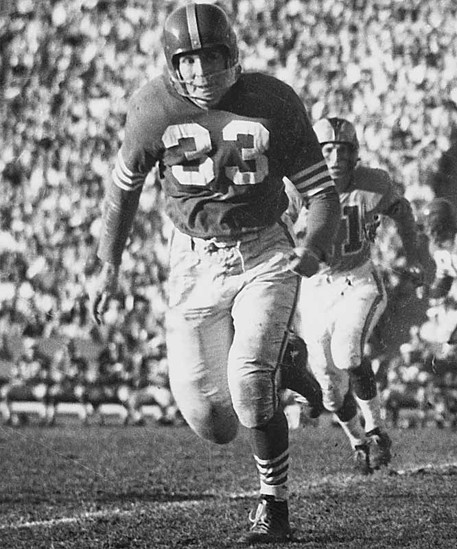 "1948 Brooklyn AAFC, 1949 Chicago AAFC, 1950 Baltimore, 1950 Washington, 1951-56 San Francisco, 1957 Chicago Cardinals, 1960 Denver AFL <br><br>""Thumper"" wasn't fast and wasn't the best at covering receivers, but when he hit people, he did it as hard as anyone. He frequently launched himself at the oncoming player, smashing his shoulder into him and knocking him to the ground."