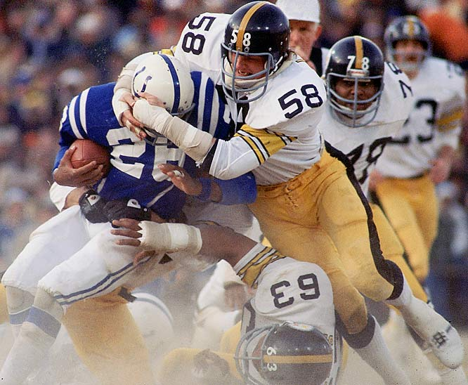"1974-1984 Pittsburgh  <br><br>""Yes, I get satisfaction out of hitting a guy and seeing him lie there a while,"" the middle linebacker once said. Lambert believed football was designed to ""reward the ones who hit the hardest,"" and used that attitude to help shape and reinforce Pittsburgh's Steel Curtain defense."
