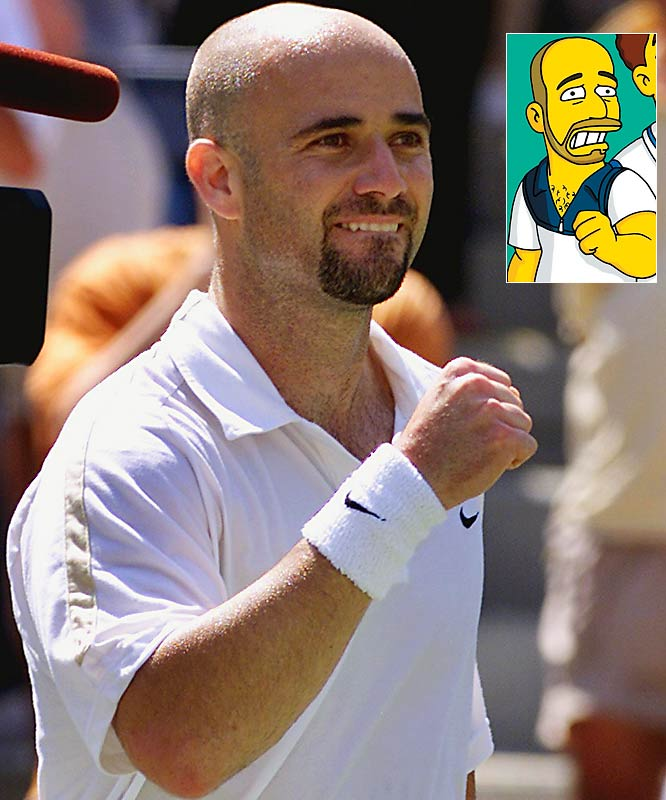 Episode: Tennis the Menace <br>First aired: Feb. 11, 2001 <br><br>Memorable moment: <br><br>Agassi: [grabbing Homer's tennis racquet] <i>Yoink! </i><br>Homer: <i>My tennis stick!</i> [turns to face Agassi] <i>Who are you?</i> <br>Agassi: <i>I'm Andre Agassi.</i> <br>Homer: <i>The wrestler?</i>