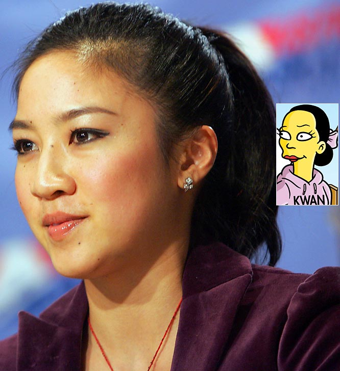 """Episode: Homer and Ned's Hail Mary Pass <br>First aired: Feb. 6, 2005 <br><br>Memorable moment: <br><br>After a judge gives Kwan a 5.9, she yells <i>""""Beware the wrath of Kwan!""""</i> before using the blades of her skates to carve a bloody 6.0 on the judge's chest."""