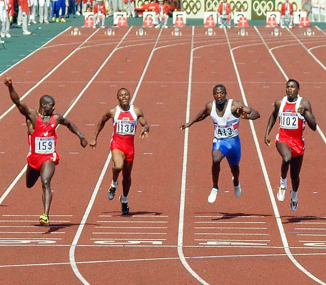 Ben Johnson (159) vs. Carl Lewis (1102) in Seoul 1988, the best sprinters of their, or maybe any, era. It was a 100-meter final and a heavyweight fight wrapped in one. Johnson won in 9.79 but was later disqualified for doping, losing the Olympic title and world record.