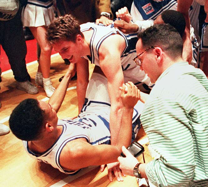 Christian Laettner's 17-foot jump shot lifted Duke to a 104-103 win in what many believe is the greatest college basketball game ever.