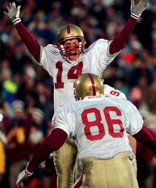 Boston College kicker David Gordon celebrates his last second field goal against Notre Dame. BC's 41-39 win kept the Irish from winning the national championship in '93.