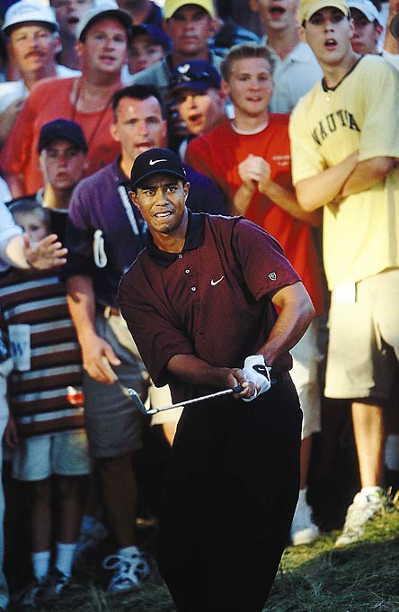 Tiger Woods birdied the last two holes in regulation to win the 2000 PGA Championship in a playoff over Bob May, becoming the first player since Ben Hogan in 1953 to win three majors in one year.