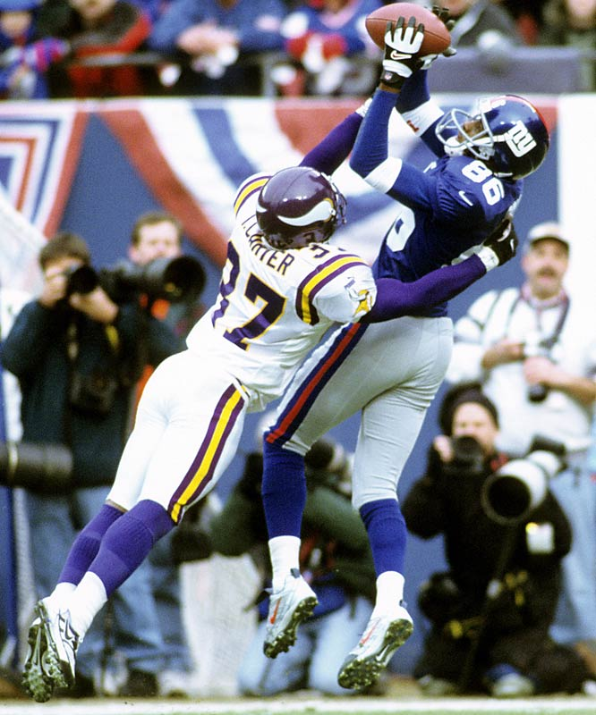 The Giants' 41-0 win over the Vikings was the biggest rout in NFC championship game history. Quarterback Kerry Collins tied a playoff passing record with five touchdown passes.