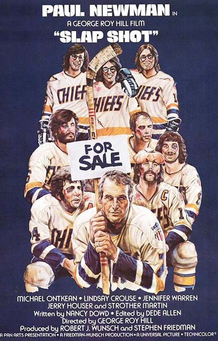 Newman's hockey coach, Reggie Dunlop, revives a deadbeat minor league team by recruiting the hard-checking, high-sticking Hanson brothers. Eyes obscured by taped-up glasses, fists swathed in tinfoil, these geeky goons revel in dirty play. So does the audience.