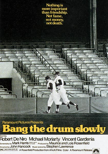 Nobody looks much like a ballplayer, least of all pitcher Moriarty and doomed, tobacco-chewing catcher De Niro. But Drum movingly hugs the foul line between myth and reality. And there's not a dry eye in the stadium as De Niro stumbles around under that final pop foul.