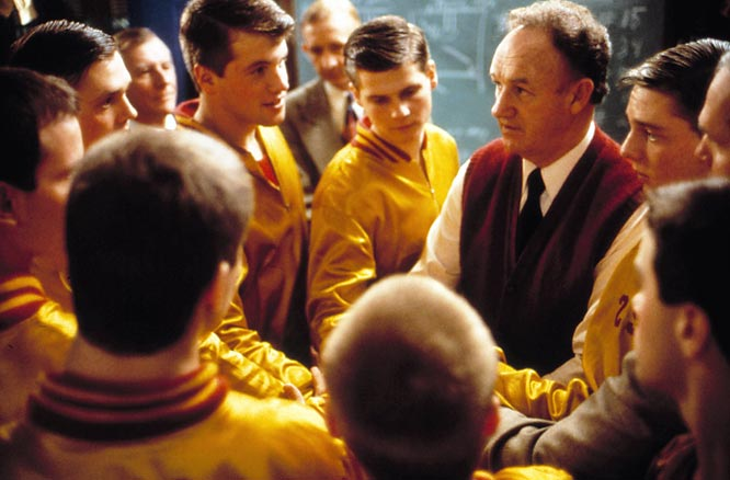 Jack Nicholson was first choice to play coach Norman Dale, but he declined. Just as well: It's hard to imagine anyone other than Hackman goading his eight-man Hickory High team. So what if Indiana hoops history was slightly rewritten for this uplifting upset?