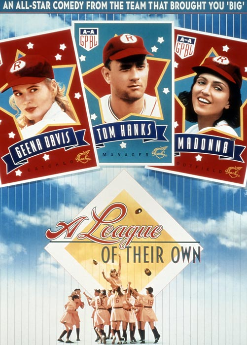 There may be no crying in baseball--but the game once had females, as recounted in this lightly fictionalized and spiritedly feminist account of the World War II-era women's pro league. Hanks as a fall-down-drunk skipper and Davis as a loose-limbed catcher provide the pathos.
