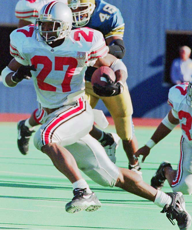 George rushed for a school-record 1,927 yards and 24 touchdowns--including 314 yards and three scores in one game-- on his way to winning the Heisman during his senior year in Columbus. The bruising tailback left Ohio State second in career rushing yards and third in touchdowns.