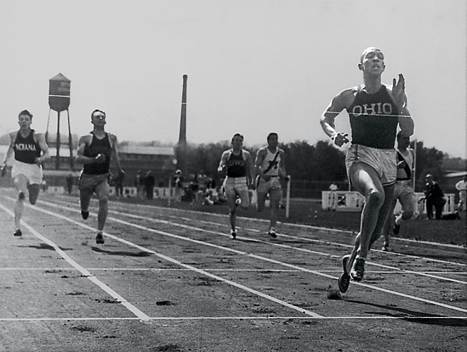 "Despite having to endure extreme racial prejudice during his college years, the ""Buckeye Bullet"" set an NCAA record by winning eight individual championships over the course of two years in 1935-36. One of the greatest track athletes of all time, Owens set three world records during the 1935 Big Ten meet and also won four gold medals at the 1936 Olympics while still a college student."
