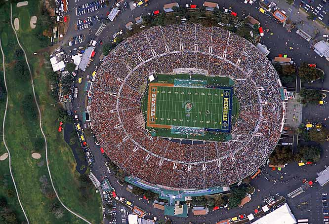 Since it was built in 1922, the Rose Bowl and the city of Los Angeles have played host to a plethora of high-profile sporting and cultural events. The home of the UCLA Bruins is -- as its name suggests -- most famously home to college football's Rose Bowl, but it is also the site of five previous Super Bowls, the 1994 Men's World Cup and the world's largest flea market.