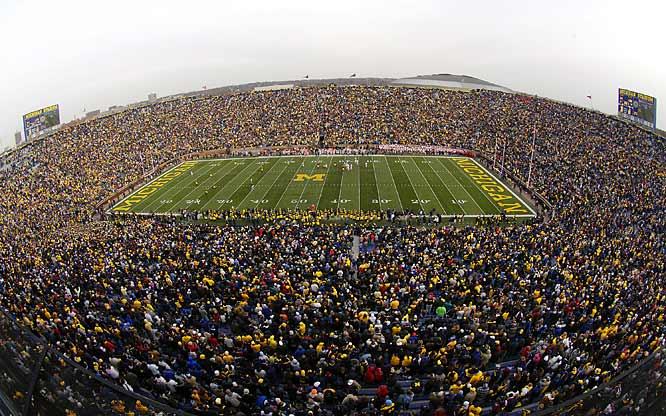When Michigan Stadium opened in 1927 it seated 72,000, but the school's athletic department envisioned the day when 150,000 seats would be needed. The stadium hasn't quite reached that mark, but it now seats 107,501. It has earned national renown for its sheer size and a nickname (The Big House) that pays homage to its mass.