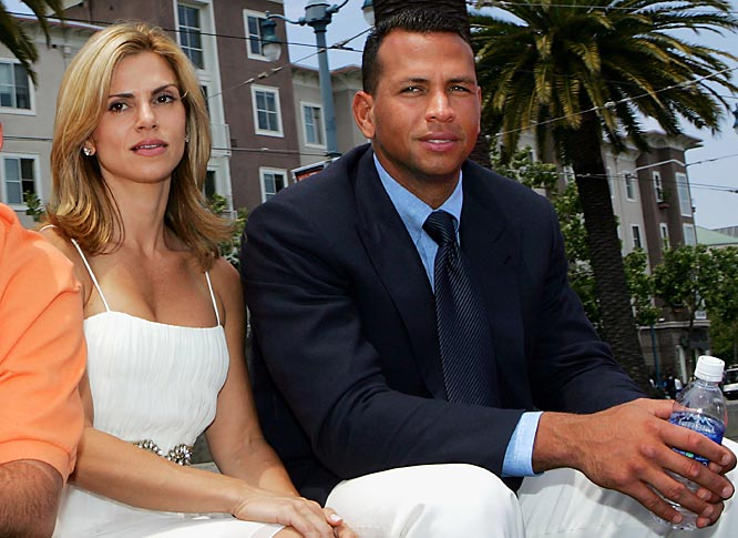 Alex Rodriguez rode the All-Star float with his wife Cynthia. They look very happy.