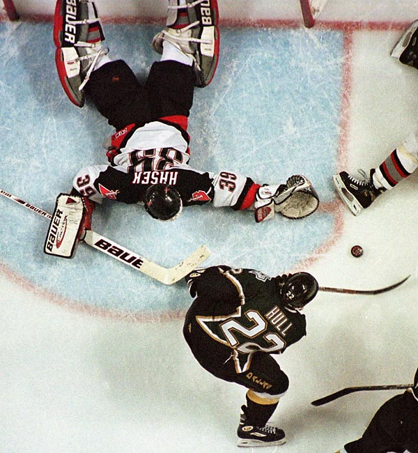 Brett Hull won the 1999 Stanley Cup for the Stars when he beat Buffalo's Dominik Hasek for the series-clinching goal in the third overtime of Game 6 of the 1999 finals. Hull also won the wrath of Sabres fans, who said his skate was in the crease before the puck. But the refs allowed the goal to stand after watching a replay and determining Hull had control of the puck.<br><br>Send comments to siwriters@simail.com.