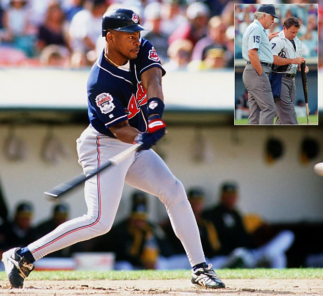 """In 1994, Belle's bat was confiscated by umpire Dave Phillips after the White Sox voiced suspicion that it was corked. Belle's teammate Jason Grimsley stealthily made his way to Phillips' locker and swapped the bat with a cork-free one. The new bat had Paul Sorrento's name on it, however, and the plan failed. Belle was suspended for seven games. In his autobiography, Belle's teammate Omar Vizquel said, """"the problem, of course, was that all of Albert's bats were corked."""""""