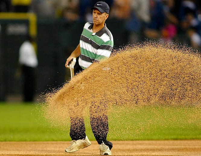 """The Comiskey Park infield was once known as """"Bossard's Swamp"""" because groundskeeper Gene Bossard kept the grass high and well-watered for Chicago's sinkerball pitchers. Bossard also soaked the area around first base when opposing base stealers came to town -- a practice his son Roger has been accused of continuing. According to Roger, Gene also created the """"frozen baseball"""" in 1967, whereby he'd leave baseballs in a humidified basement room for 10-14 days to help the home team."""
