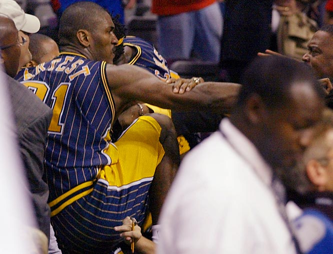 Artest's pattern of unruly and unusual behavior came to a head when he was the central figure in the 2004 Pacers-Pistons brawl in Detroit, jumping into the stands to confront a man he incorrectly believed to be responsible for throwing a cup of beer at players on the court.