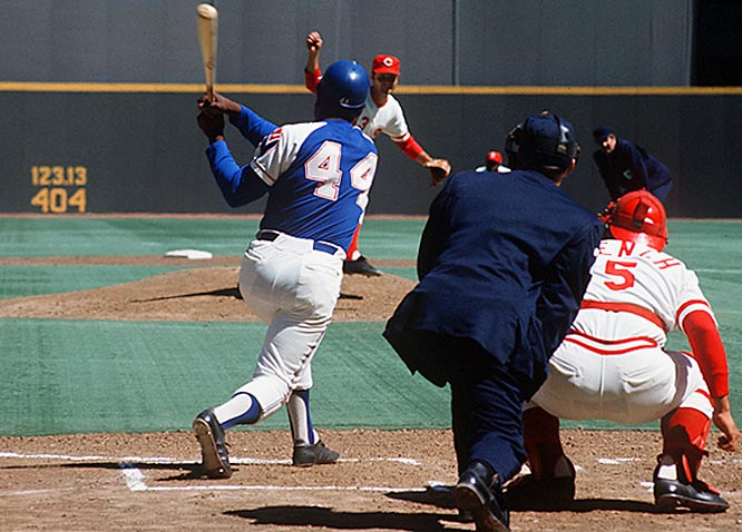 Aaron tied Ruth on the all-time home run list with this blast against the Reds on April 4, 1974, in Cincinnati.
