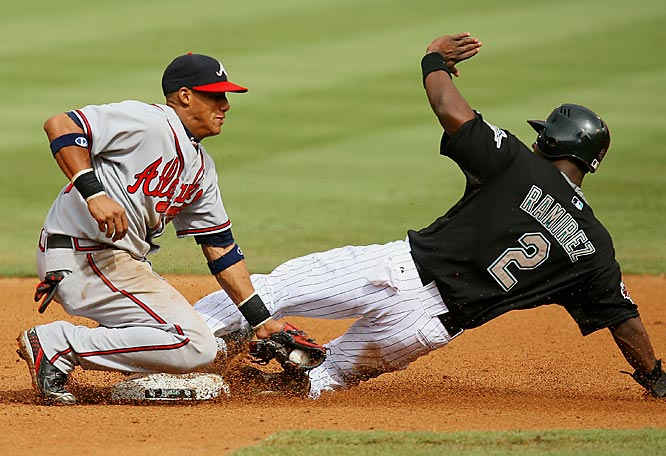 Second baseman Yunel Escobar is late with the tag as Florida's Hanley Ramirez steals second in the seventh inning July 1 at Dolphin Stadium. The Marlins won 6-5 in 10 innings.