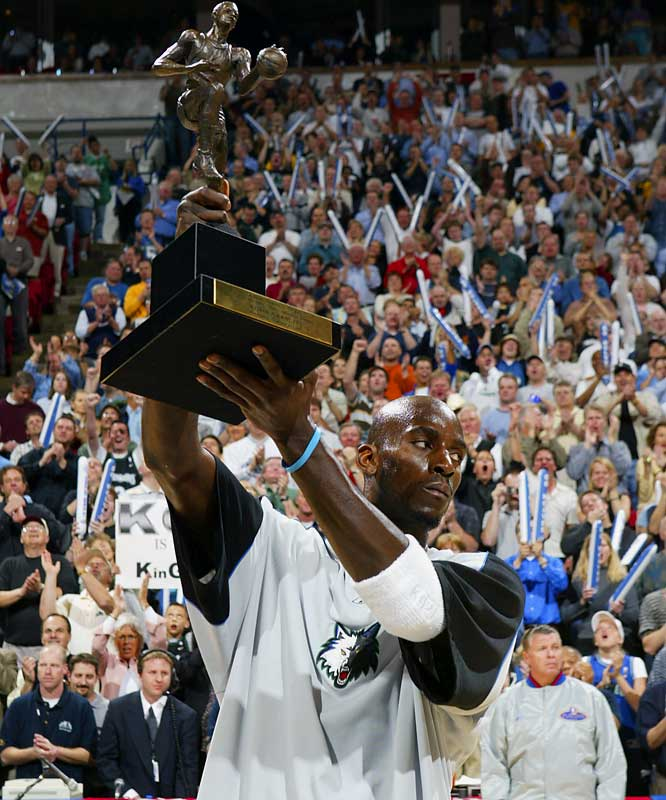Garnett added more hardware to his collection when he was selected as the 2004 NBA MVP, finishing three first-place votes short of being a unanimous winner. That year Garnett became the fifth player to lead the league in both total points and rebounds.
