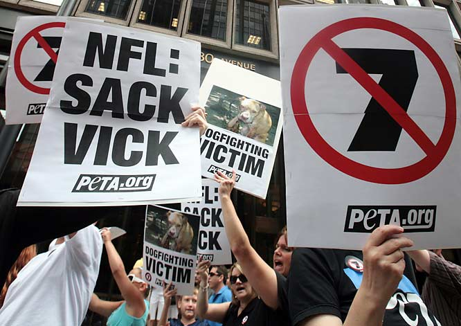 """Today, we sound a clarion call to all people: Stand up for what is right, and speak out against what is wrong. Dogfighting is unacceptable. Hurting animals for human pleasure or gain is despicable. Cruelty is just plain wrong."" -- in a letter to the NFL, the Falcons and Vick's sponsors."
