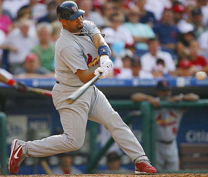 Albert Pujols hit four home runs in three games against the Phillies following the All-Star break.
