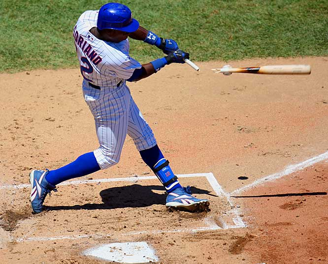 Alfonso Soriano breaks his bat on a foul ball in the first inning of the Cubs game against the Diamondbacks at Wrigley Field on July 21. The D-Backs won 3-2.