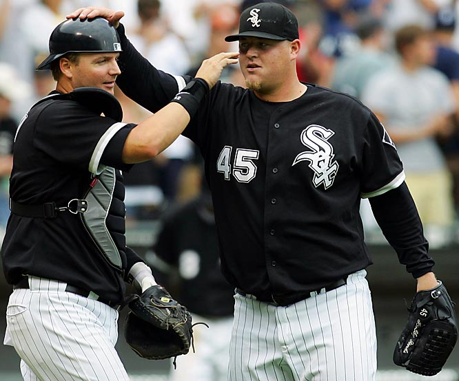 Catcher A.J. Pierzynski congratulates closer Bobby Jenks on recording a save in a 5-3 win against the Tigers on July 24 at U.S. Cellular Field in Chicago. Jenks earned a save in the second game of the twinbill as well and finished the week with a win and four saves, allowing no baserunners.