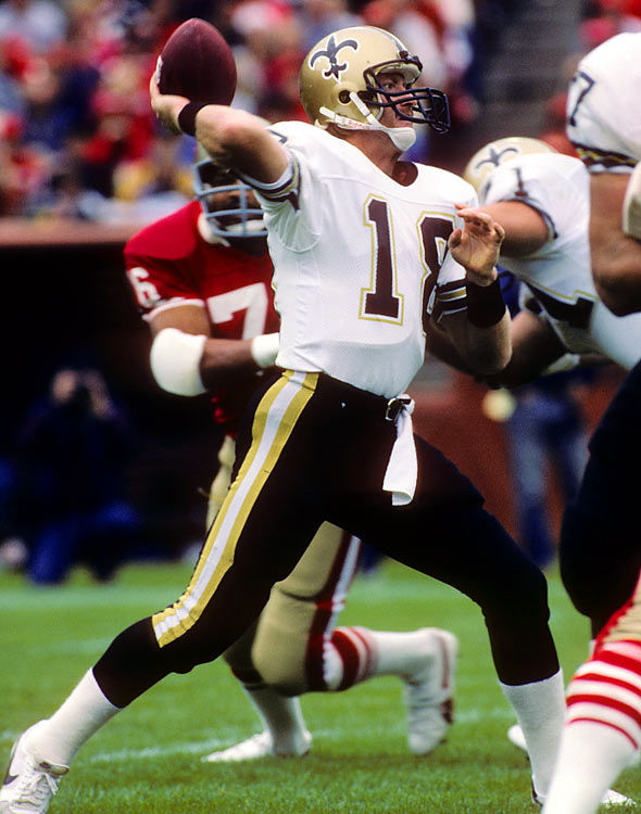The heir apparent to Archie Manning, Wilson was taken by the Saints in the first round of the 1981 supplemental draft, making him the first player to go in the opening round. After a knee injury hampered his mobility, he could never live up to those expectations. In parts of seven seasons with the Saints, he threw 55 interceptions and just 36 touchdown passes.
